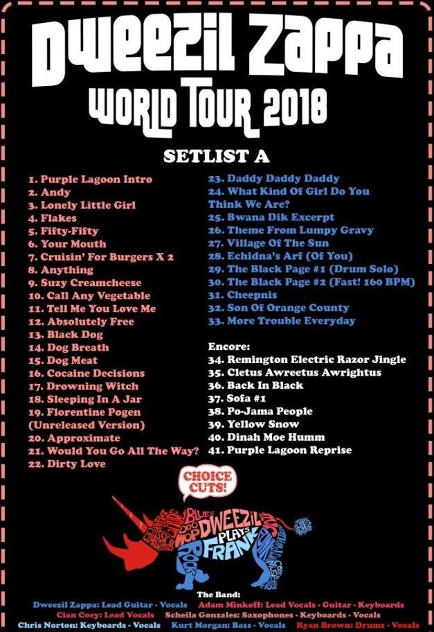 Dweezil Zappa, 25-07-2018, Setlist A (dweezilzappa.com)