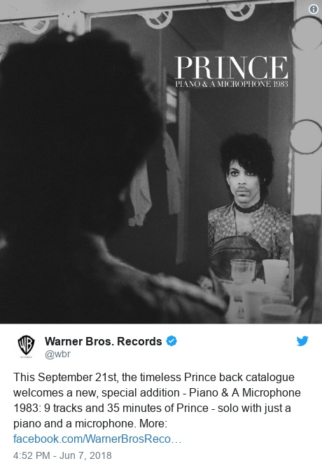 Prince - Piano & A Microphone 1983 - Warner Bros announcement (twitter.com/wbr)
