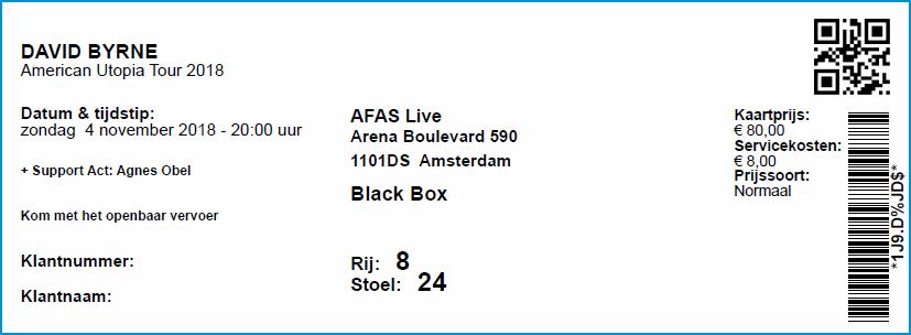 David Byrne, 04-11-2018 Concertkaartje (apoplife.nl)