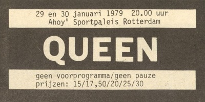 Queen - Jazz Tour - Live Killers - Ahoy Rotterdam, January 29th and 30th, 1979 - Ad (queenconcerts.com)