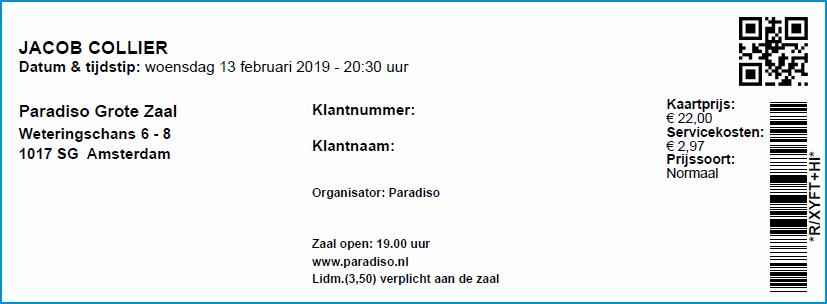 Jacob Collier, 13-02-2019 Concertkaartje (apoplife.nl)