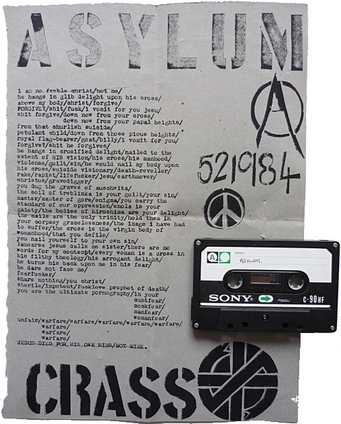 Crass - Asylum cassette (crassahistory.wordpress.com)