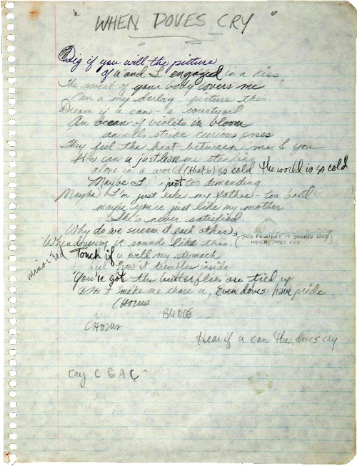 Prince - When Doves Cry - Handwritten lyrics (twitter.com/princemuseum)