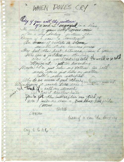 Prince - When Doves Cry - Handgeschreven tekst (twitter.com/princemuseum)