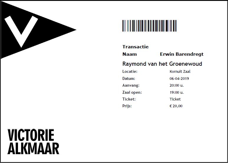 Raymond van het Groenewoud, 06-04-2019, concertkaartje (apoplife.nl)