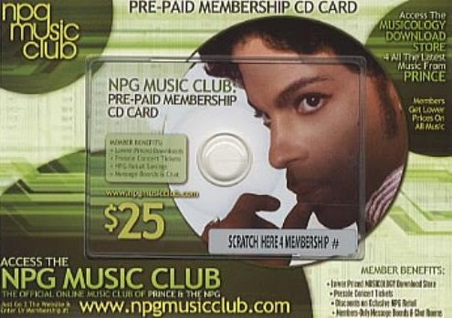 Prince - NPG Music Club - Pre-paid membership card (eil.com)
