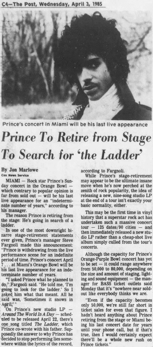 Prince stops performing live, April 1985 (newsbots.eu)