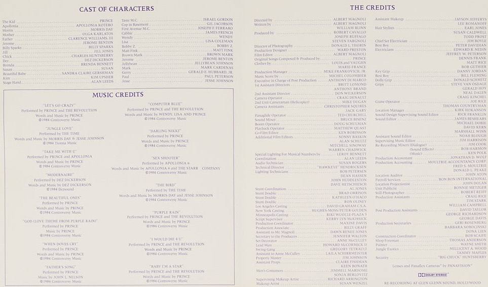 Purple Rain movie credits (rrauction.com)