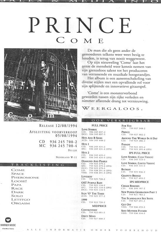 Prince - Come pre-order (apoplife.nl)