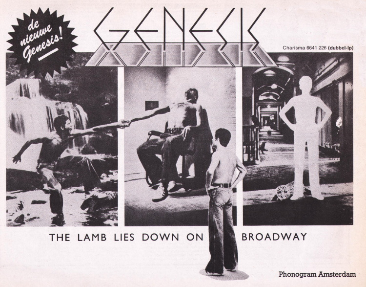Genesis - The Lamb Lies Down On Broadway - Dutch ad (thegenesisarchive.co.uk)