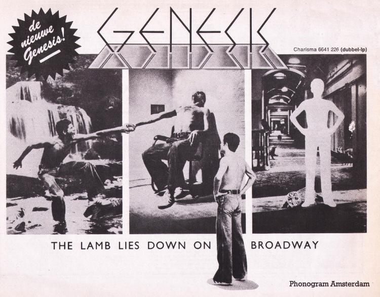 Genesis - The Lamb Lies Down On Broadway - Nederlandse advertentie (thegenesisarchive.co.uk)