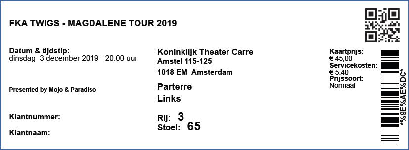 FKA Twigs 03-12-2019 concertkaartje (apoplife.nl)