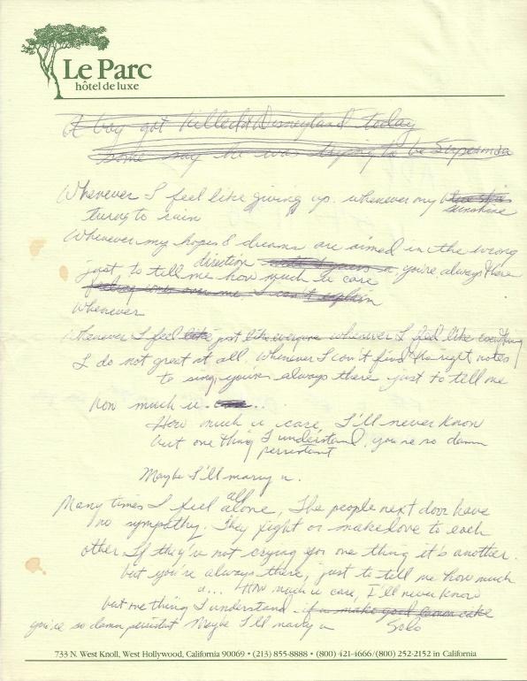 Prince - She's Always In My Hair - Handgeschreven tekst (waxpoetics.com)