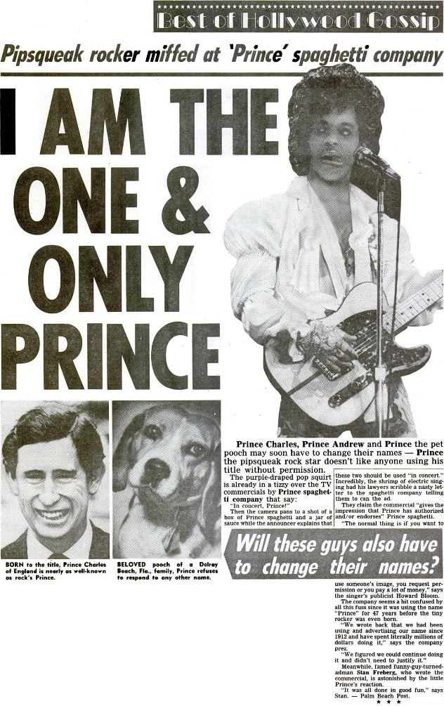 Prince - Spaghetti commercial - Weekly World News - 06/04/1985 (google.com)