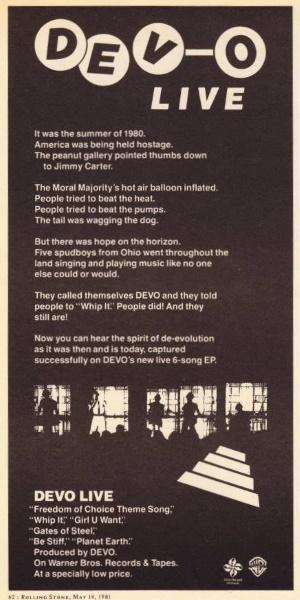 Devo - DEV-O Live - Rolling Stone Reclame 14-05-1981 (collectors.com)