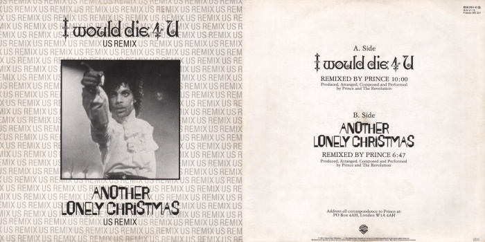 Prince And The Revolution - I Would Die 4 U & Another Lonely Christmas (discogs.com)