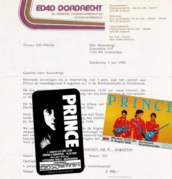 Prince - Nude Tour - Heerenveen advertentie & Dortmund brief en poster (delpher.nl/apoplife.nl/rockrattlenroll.com)