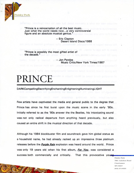 Prince - Nude Tour - Paisley Park press release (facebook.com)