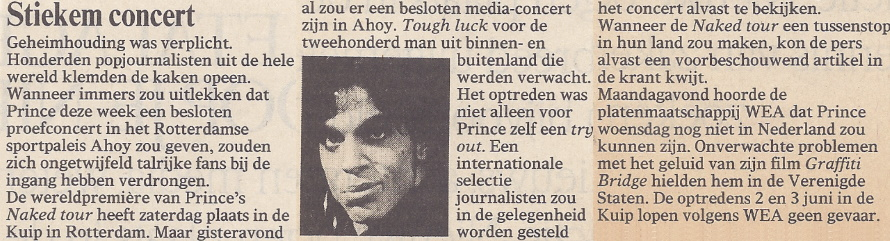 Prince - Nude Tour - Pre-Show - Volkskrant 05/30/1990 (apoplife.nl)