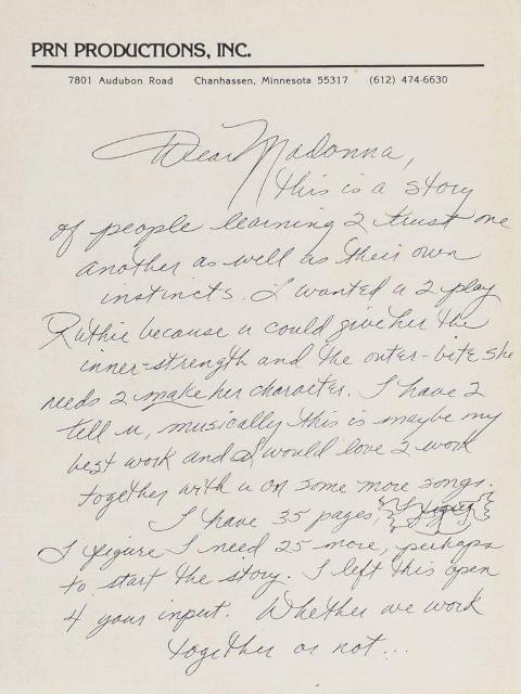 Prince - Brief aan Madonna (facebook.com)