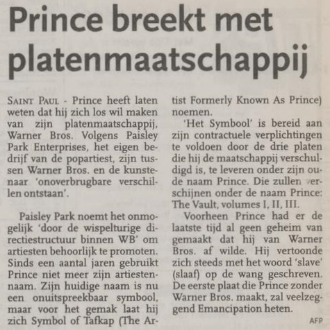 Prince breaks with Warner Bros. - Algemeen Dagblad 12/27/1995 (apoplife.nl)