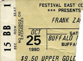 Frank Zappa - Ticket 10/25/1980 (ebay.com)