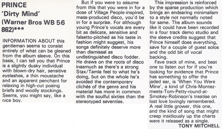 Prince - Dirty Mind review - Sounds 1980 (apoplife.nl)