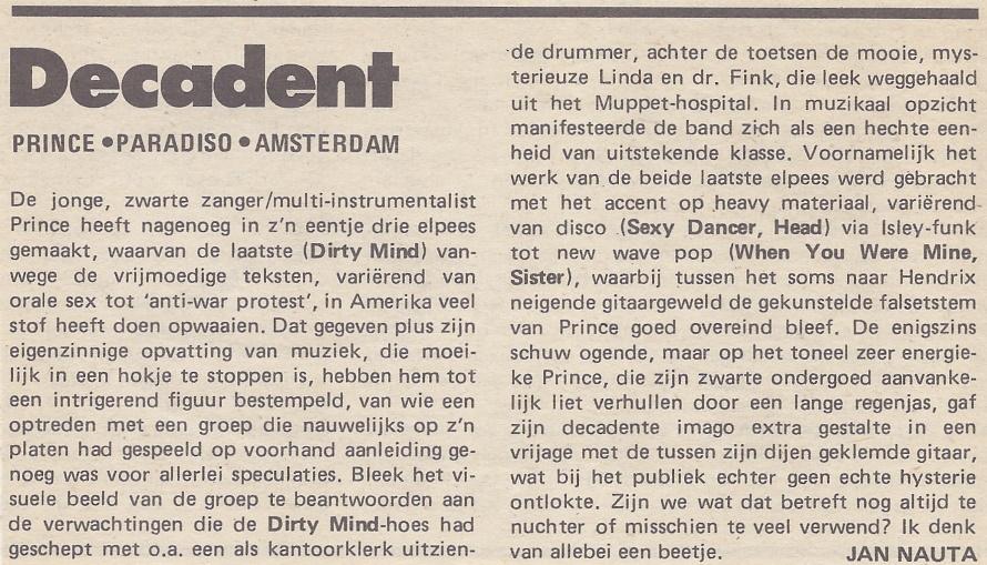 Prince - Dirty Mind tour recensie - OOR 12 17-06-1981 (apoplife.nl)