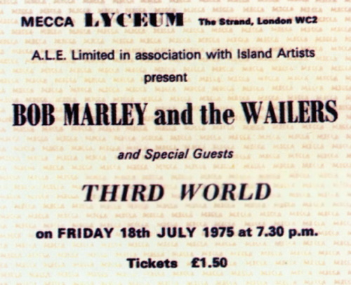 Bob Marley And The Wailers - 18 juli 1975 - concertkaartje (apoplife.nl)