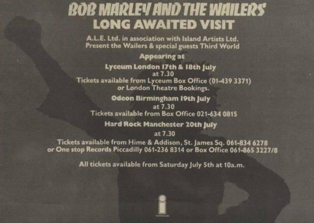 Bob Marley And The Wailers - Engelse tour advertentie (facebook.com)