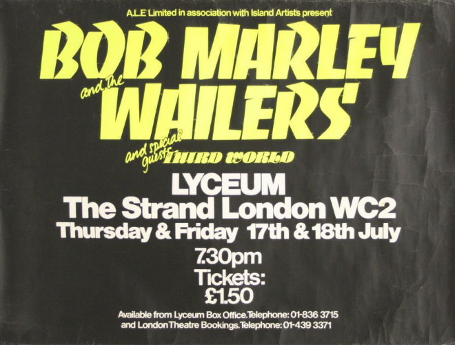 Bob Marley And The Wailers - Live at the Lyceum London 17th & 18th July 1975 (pinterest.com)