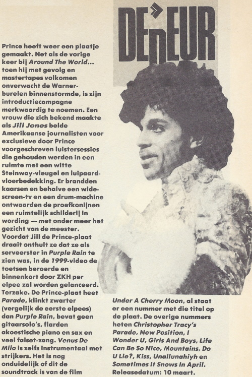 Prince - Parade announcement - OOR 4, 26-02-1986 (apoplife.nl)