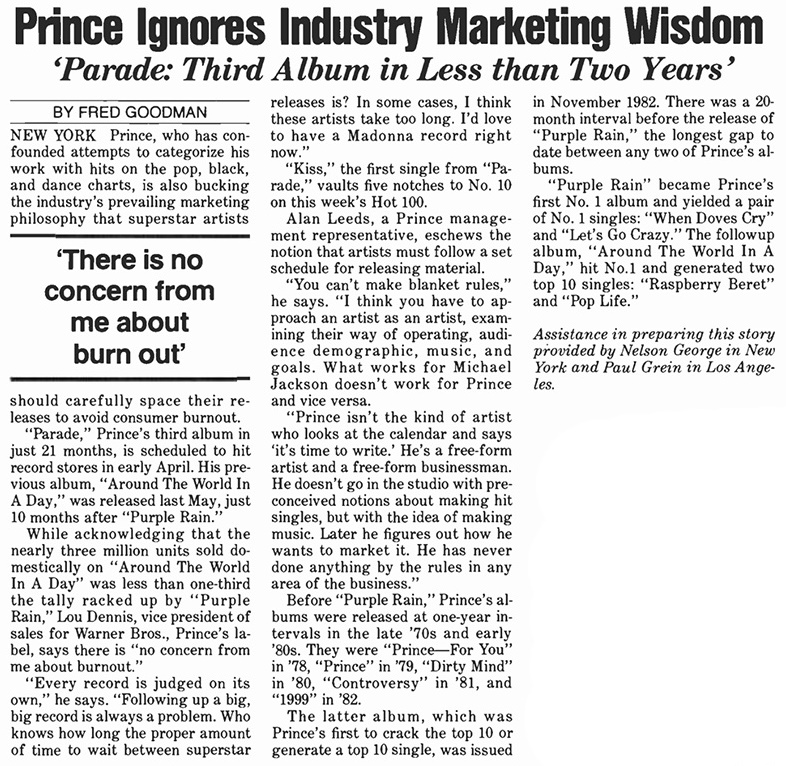 Prince - Too much output? - February/March 1986 (prince.org)
