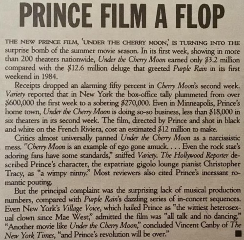 Prince - Under The Cherry Moon - Flop Rolling Stone juli 1986 (Rolling Stone)
