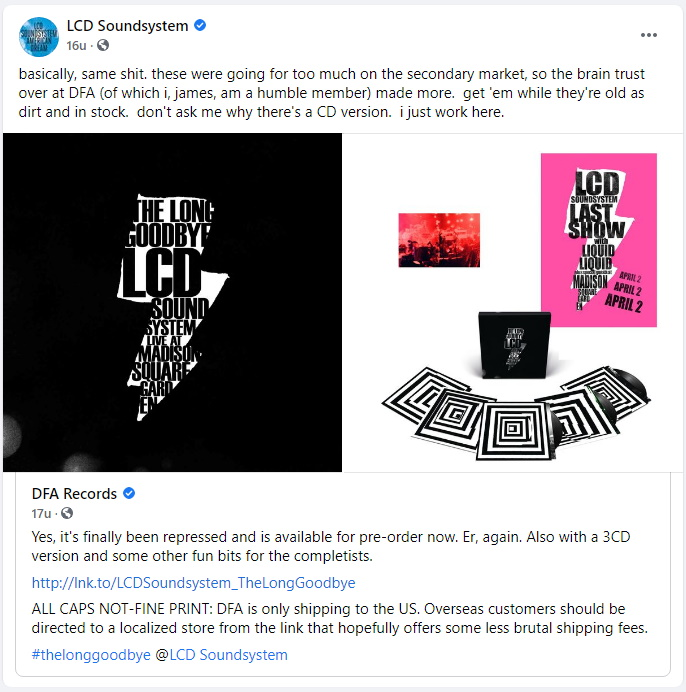 LCD Soundsystem - The Long Goodbye - Facebook 07-07-2021 19:10 (facebook.com/lcdsoundsystem)