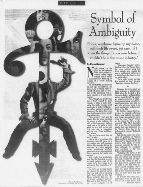 Prince - Chaos And Disorder - Symbol of ambiguity - Los Angeles Times 14-07-1996 (google.com)