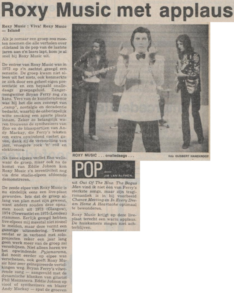Roxy Music - Viva! Roxy Music recensie - Het Parool 24 juli 1976 (apoplife.nl)